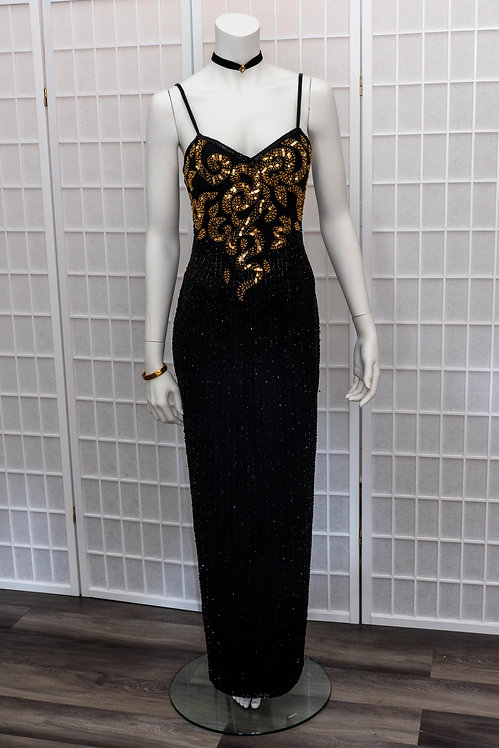 Gold Beaded Evening Gown