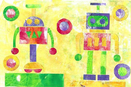 רובוטים  - ערכה להכנת 2 תמונות קולאז'