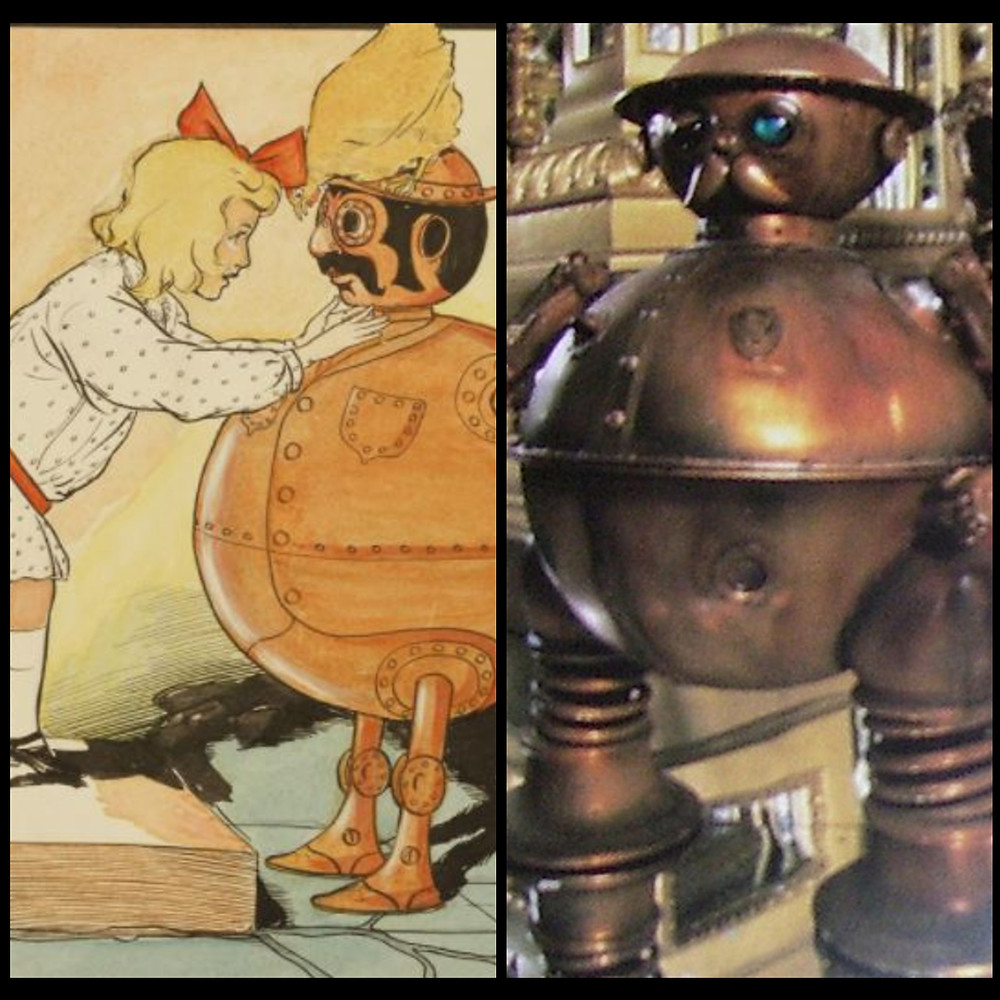 A paper illustration on left shows a copper-colored, round mechanical man. A screenshot on the right shows the same man, with a very similar design.