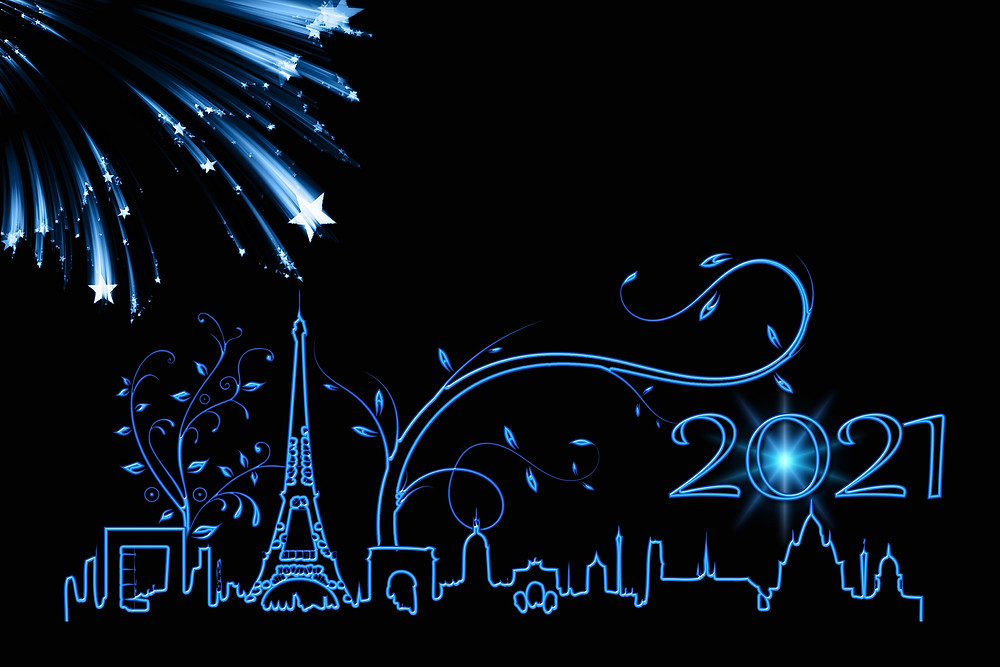 An illustration of the Paris skyline with branches growing from it and stars raining down. The number 2021 is above the skyline on the right.