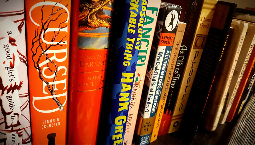 A set of book spines on a shelf, including several fiction and scifi titles.