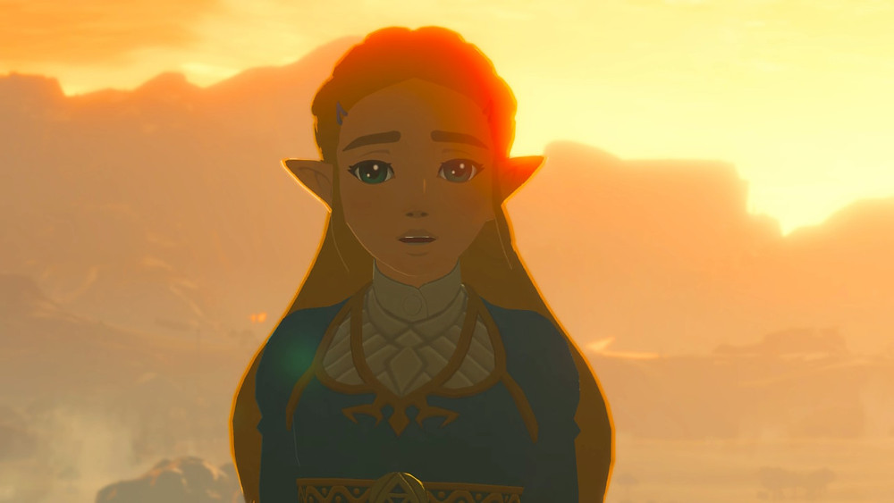 A screenshot from The Legend of Zelda: Breath of the Wild. Evening. Zelda looks at the camera with a worried expression.