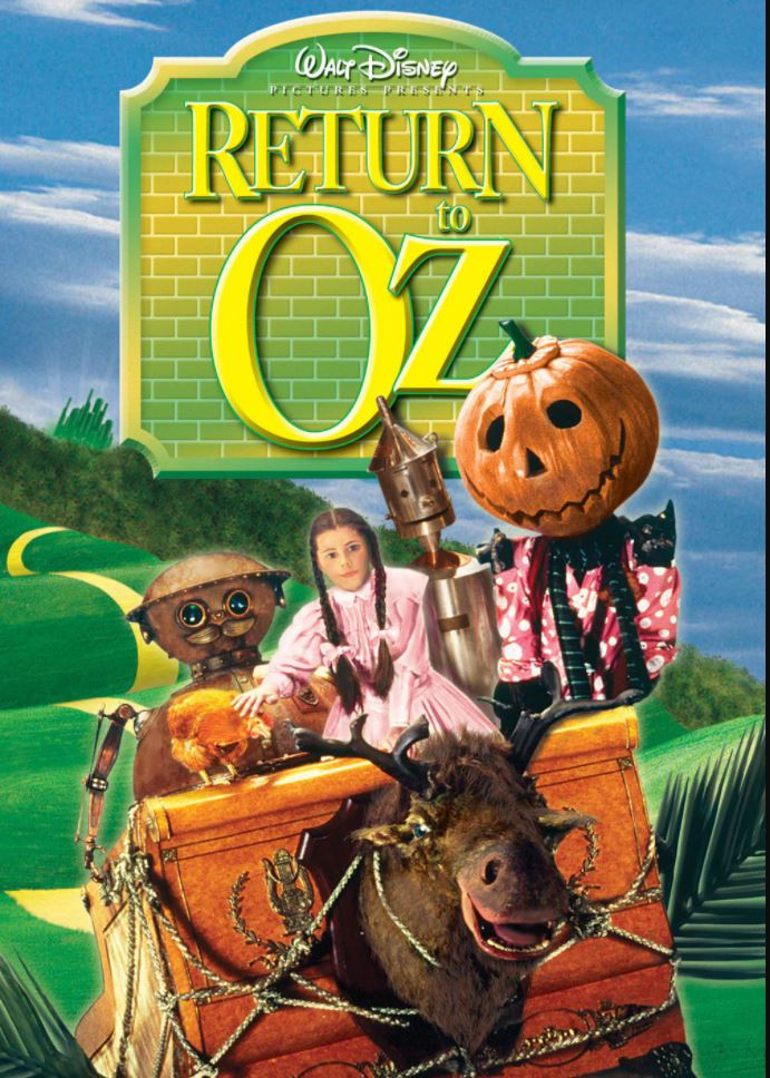 A theatrical, high-color poster with Dorothy (center), TikTok (left), and Jack Pumpkinhead (right) ridiing on The Gump in front of the movie's title in big, yellow letters.