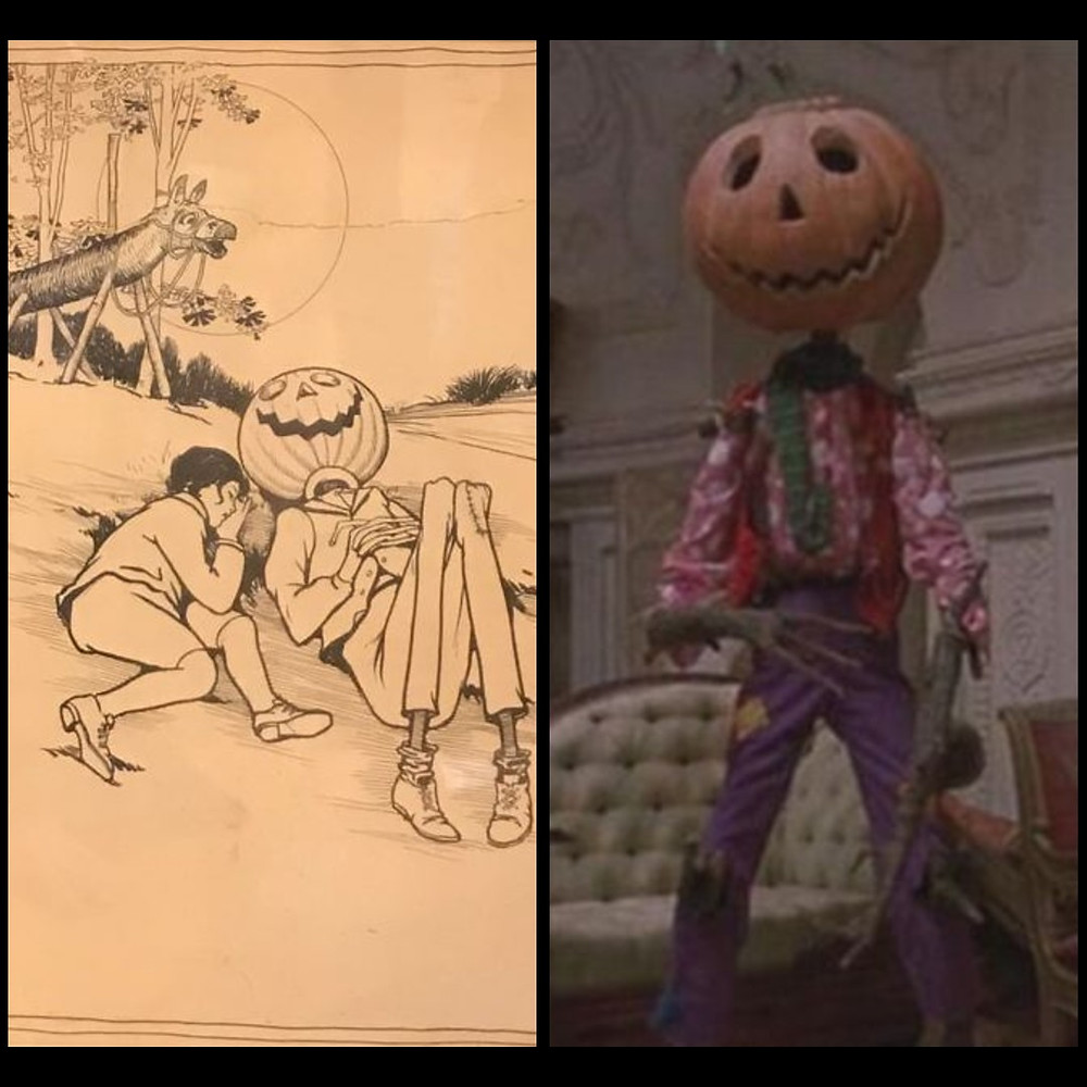 Left, a paper illustration. A boy sleeps beside a gangly scarecrow with a pumkin for a head. Right, A screenshot of the movie. A large, gangly scarecrow with a pumpkin for a head wearing a pink shirt with white spots and purple, patched trousers.