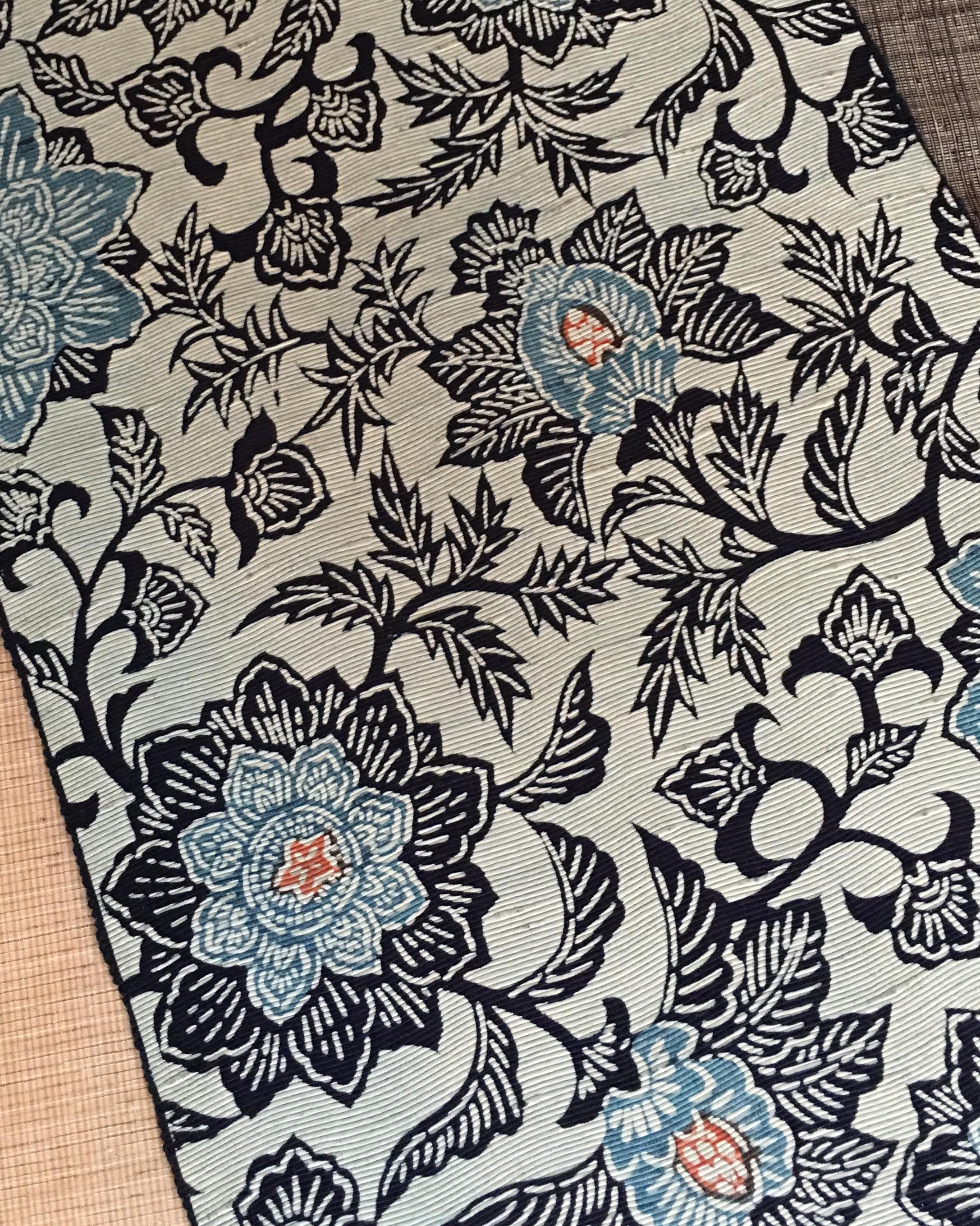 古代紙布型染め帯