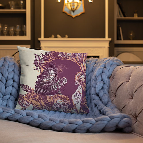 Nourish Throw Cushion with deep pink back (18inch x 18inch)