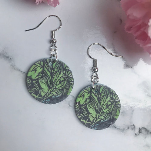 Green nature earrings