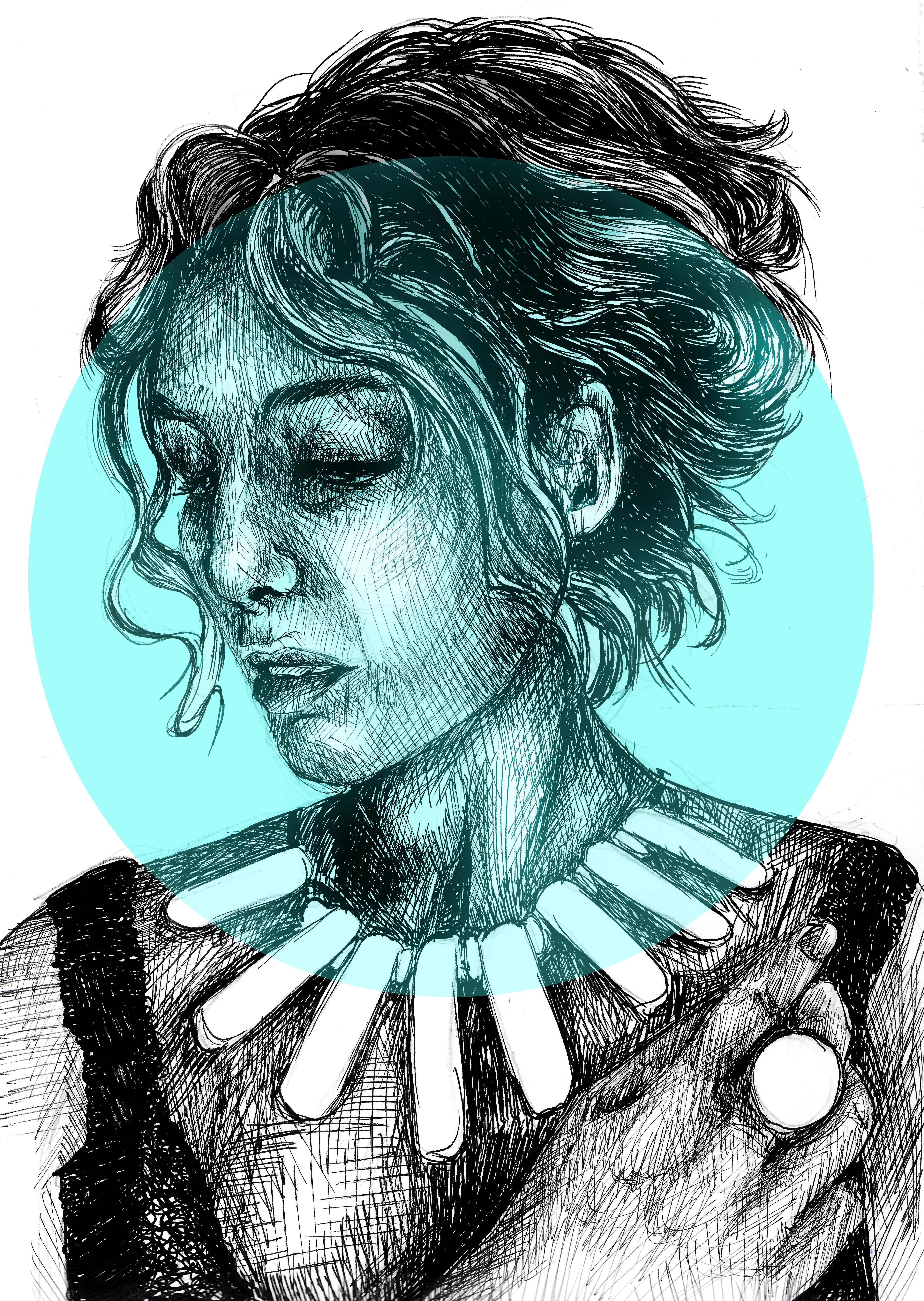 blue bubble portrait
