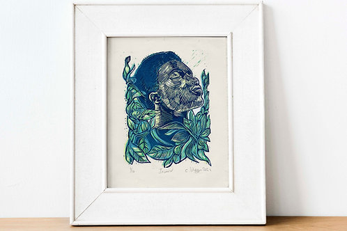 Inward 2 plate reduction linocut print (4 layers) blue green