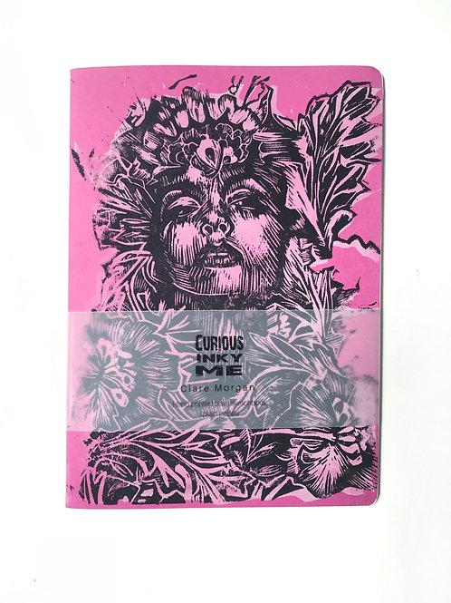 Pink A5 hand printed sketchbook