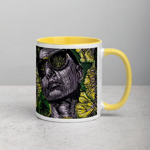 Glow ceramic mug with a pop of yellow