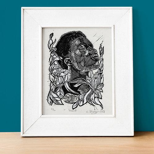 'Inward' one layer Lino cut print