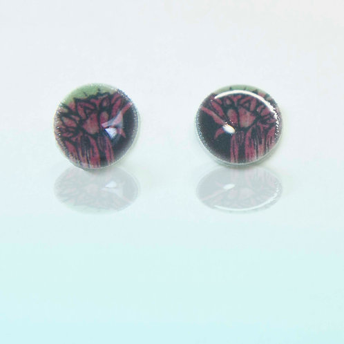 Reflect flower studs pink and green