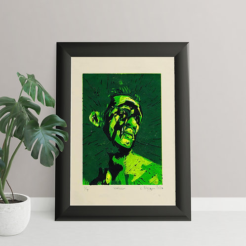 Unseen reduction lino print