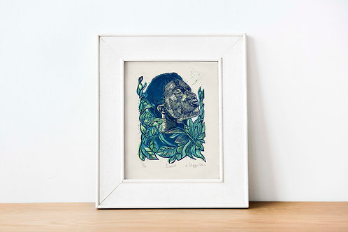 Inward 2 plate reduction linocut print (4 layers) blue green