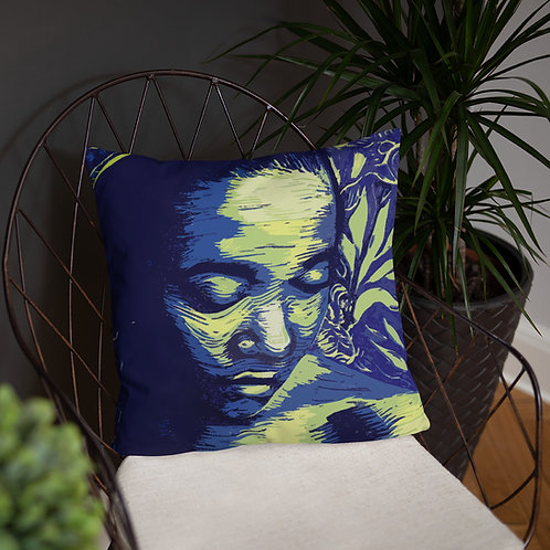Contemplate throw cushion with a plain green back.