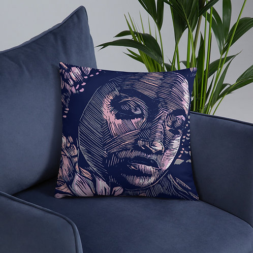Innermost throw cushion with a navy back. (18inch x 18inch)