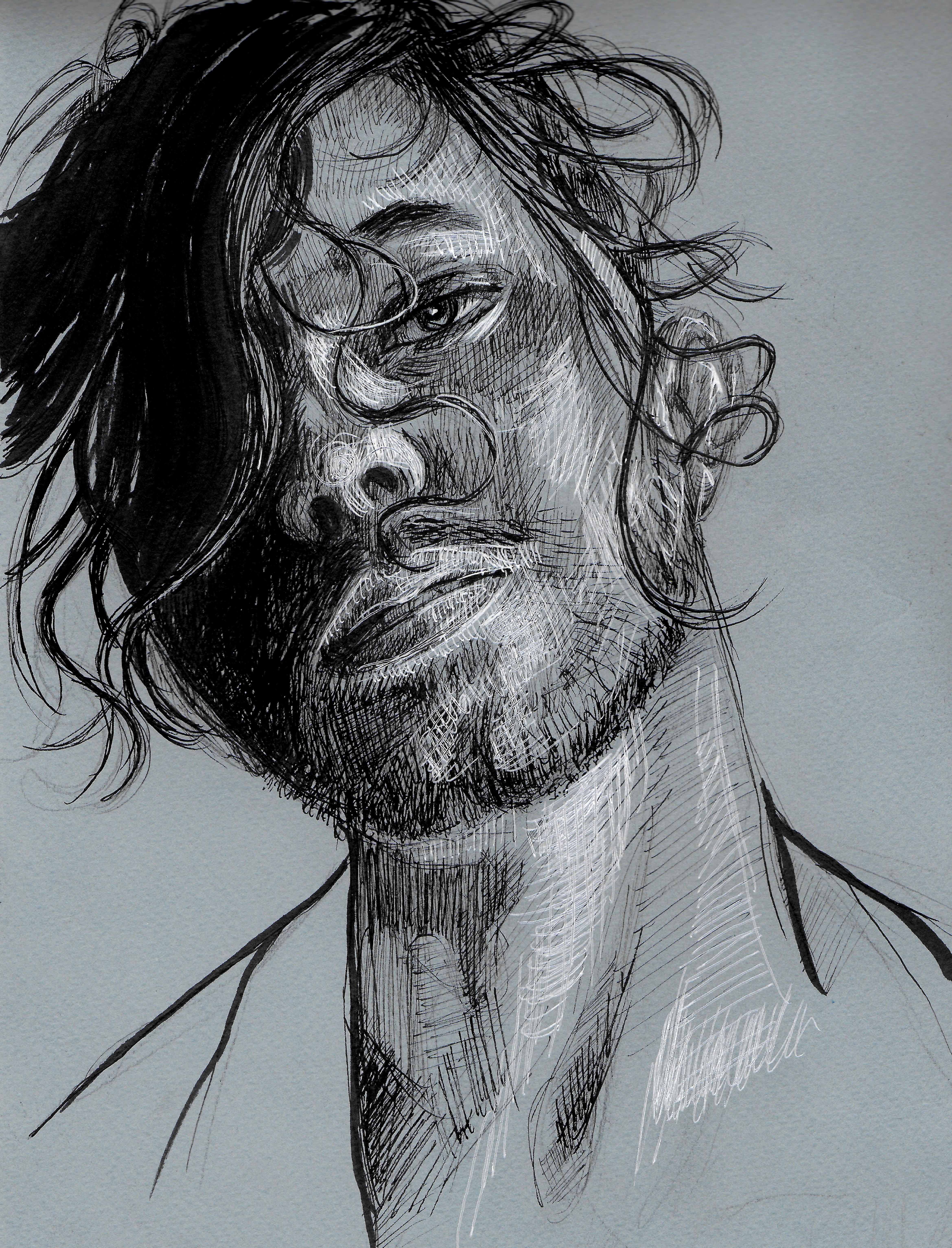 male portrait on midtone head tilt