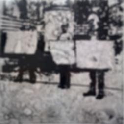 """""""Пикет"""", стекло, пигмент, 40х40 см., 2014, автор Потапов Владимир"""