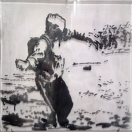 """""""Бросок"""", стекло, пигмент, 40х40 см., 2014, автор Потапов Владимир"""