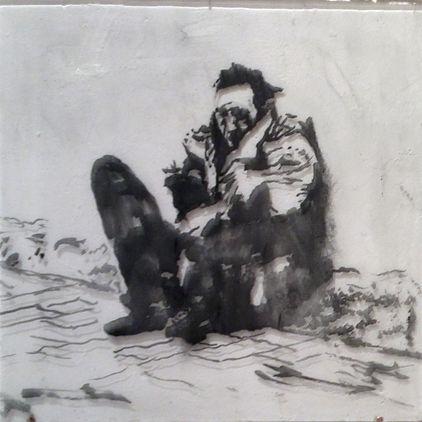 Сидящий, человек 40х40 см., пигмент,плексиглас,смола,2014, автор Потапов Владимир, автор Потапов Вла