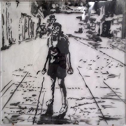 """""""Девушка"""", стекло, пигмент, 40х40 см., 2014, автор Потапов Владимир"""
