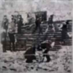 """""""Лестница"""", стекло, пигмент, 100х100 см., 2014, автор Потапов Владимир"""