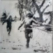 Улица,  40х40 см., пигмент,плексиглас,смола,2014, автор Потапов Владимир