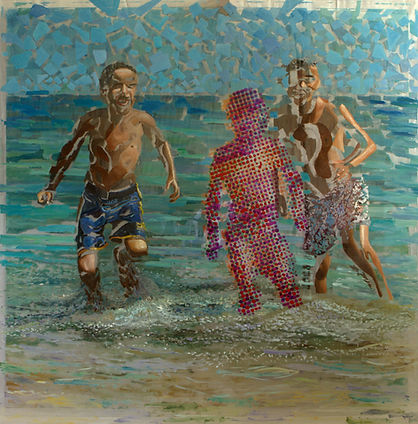 Пляж, плексиглас-масло,100х100 см,2013