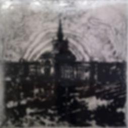 """""""Вокзал"""", стекло, пигмент, 100х100 см., 2014, автор Потапов Владимир"""
