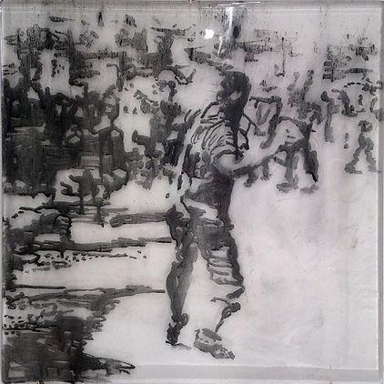 """""""Бросок №2"""", стекло, пигмент, 40х40 см., 2014, автор Потапов Владимир"""