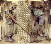 """""""Дуэль, плексиглас, масло, 100х120 см., 2013"""