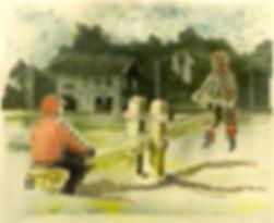 """""""Дворик"""", плексиглас, масло, 100х70см., 2013"""