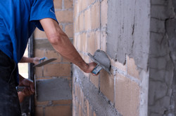 Plastering of plaster workers on the wal