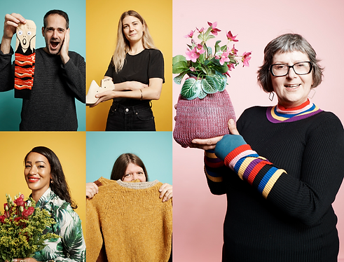 BIPC Entrepreneurs. Four female and one male holding flowers, a jumper, shoe shape block and socks