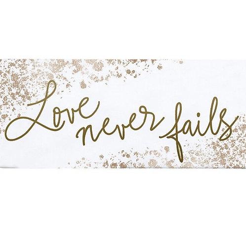 """Love Never Fails"" Enamel Coated Metal Plaque"
