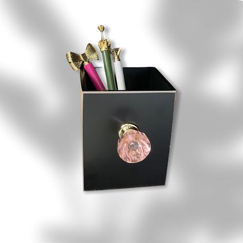 Black with Pink Crystal Knob Pen or Makeup Brush Holder