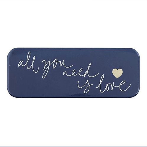 """""""All you need is Love"""" Enamel Coated Metal Plaque"""