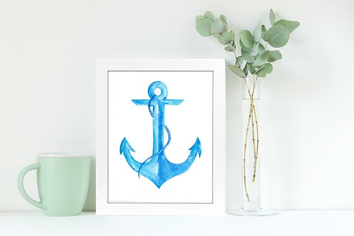 Anchor Blues 8x10 Watercolor Print