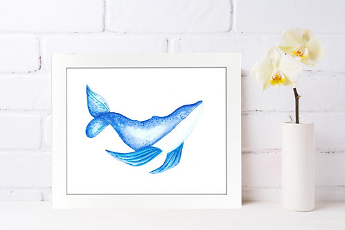 Whale Blues 8x10 Watercolor Print