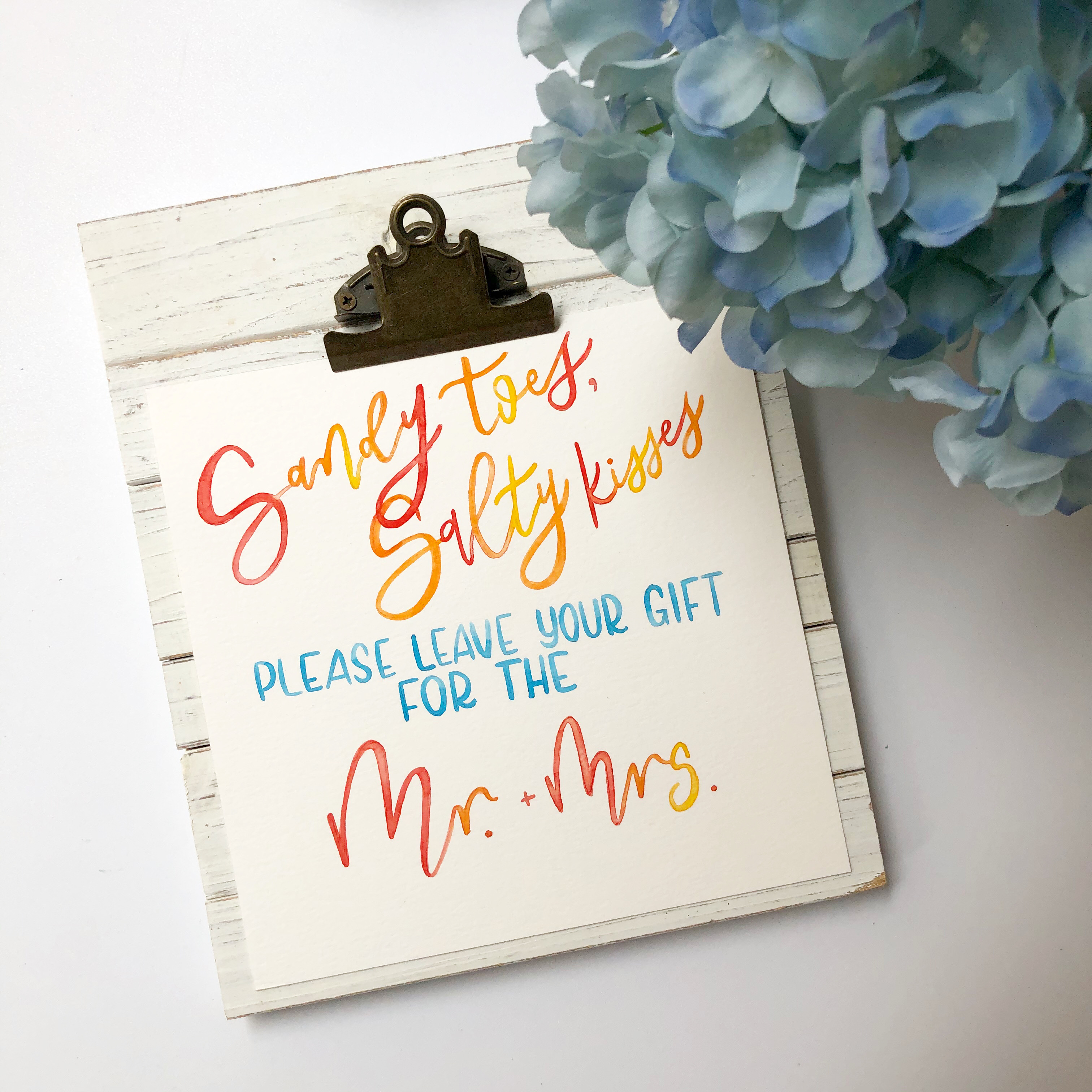 Watercolor Calligraphy Gift Table Sign