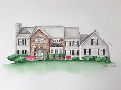 CUSTOM Home Portrait Watercolor Painting
