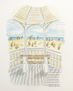 Sea Girt Beach Whimsical Watercolor