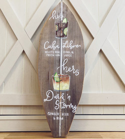Surfboard Signature Cocktail Sign