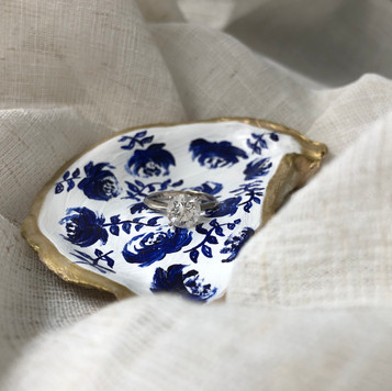 Hand Painted Oyster Shell Ring Dish