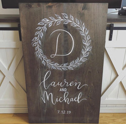 Custom Wedding Welcome Sign with Floral Crest