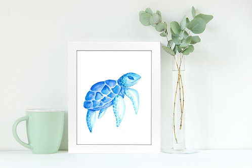 Sea Turtle Blues 8x10 Watercolor Print