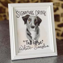Custom Pet Portrait Turned Wedding Cocktail Sign