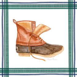 L.L. Bean Boot, navy + forest plaid border