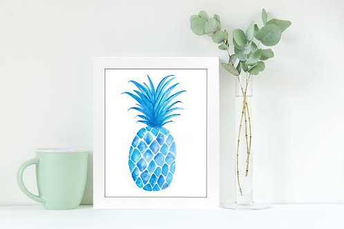 Pineapple Blues 8x10 Watercolor Print
